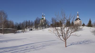 Владимирская горка Монастырь Владимирская горка март небо снег