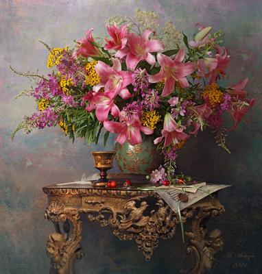 Натюрморт с цветами цветы лилии