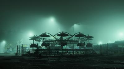 Mysterious Park парк аттракционы туман ночь свет