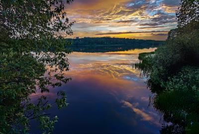 *** озеро вечер закат тучи облака берег трава ивы лес