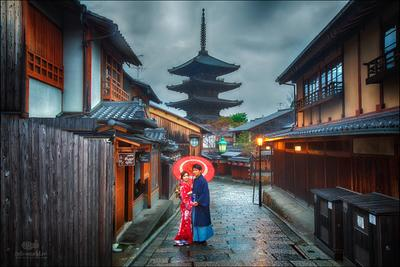 Старый квартал Гион, Киото Япония Киото Гион город жанр