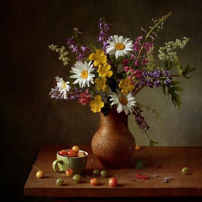 Летнее настроение цветы ромашки люпин черешня