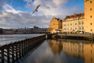 Пражский Град на Влтаве. Прага Новый год Влтава Солнце Тепло
