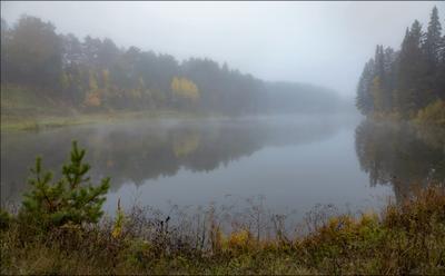 ... сентябрь туман пруд