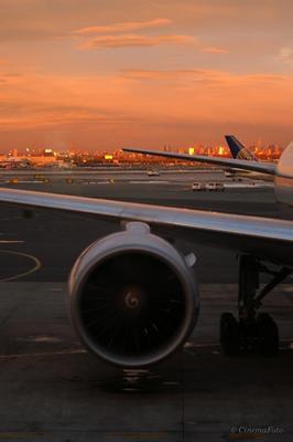 Терминал Аэропорт, самолет, закат, терминал