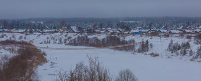 Зимняя деревня деревня шунема мост снег зима