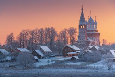 Дунилово Дунилово село Ивановская область рассвет зима мороз храм