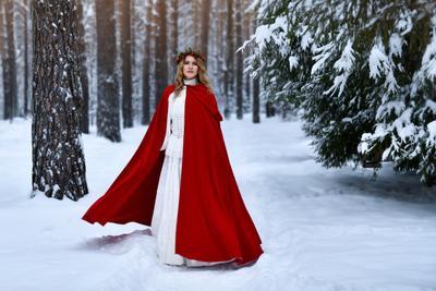 Зимняя сказка зима снег сказка плащ красный