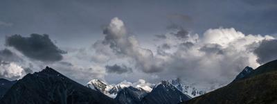 На перевале Кара-Тюрек. Панорама. горы алтай горный аккем пейзаж природа россия ник васильев красота перевал кара-тюрек белуха облака панорама