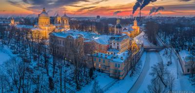 Александро-Невская лавра россия петербург зима вечер закат