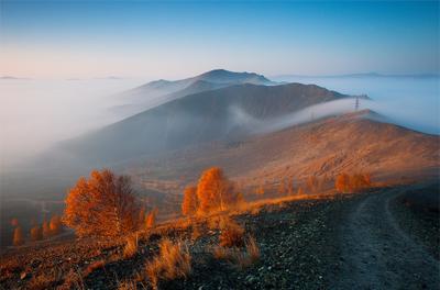 Холмы Карабаша карабаш южный урал осень туман