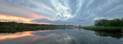 Время белых ночей Пермский край Соликамский р-он Верхнее Мошево Мошевица вечер после заката июнь белые ночи