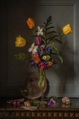 Бокал весны натюрморт стекло бокал цветы тюльпаны нарциссы мускари улитки