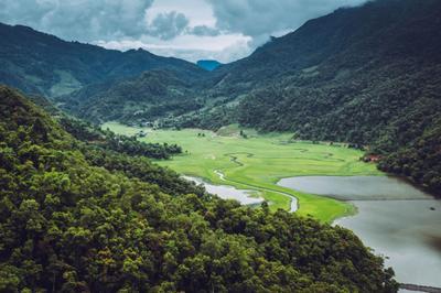 *** Непал горы покхара пейзаж озеро