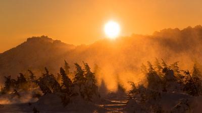 Хмурый закат Южный Урал Таганай Зима Закат