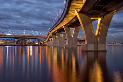 Мосты Петербурга город вечер мост залив архитектура стадион свет фонари отражения