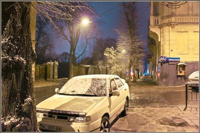Вечерний город (18) город,улица,зима,вечер,снег