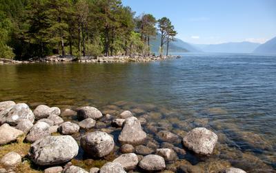 Телецкое озеро у устья реки Кокши Телецкое Алтай Кокши