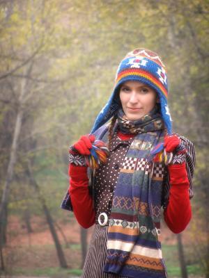 **** девушка, модель, портрет, шапка, прогулка, парк