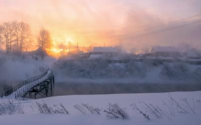 Парящая река. утро рассвет мороз река белая холуница