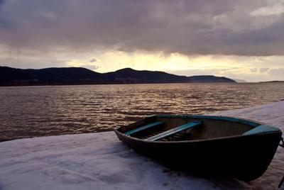 boat Волга, весна, река, вечер, закат