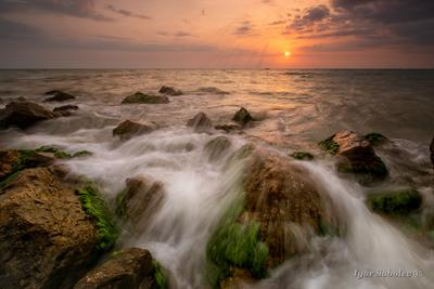Теплый вечер закат пейзаж море волны