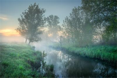 Утро на околице утро май река туман рассвет Уды Харьков Солоницевка