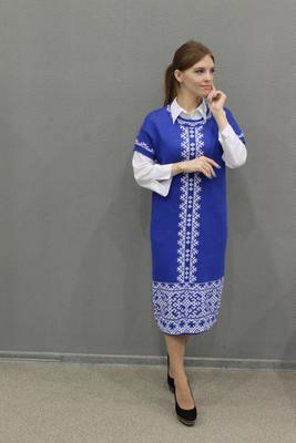 ***Синее вязанное платье одежда полный рост модель платье наряд культура стиль мода дизайнер коми север тепло узоры орнамент национальность красота вязание образ традиции