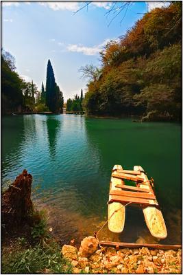 "Abkhazia. New Athos. Lake near Railway station ""Psyrdzha"""