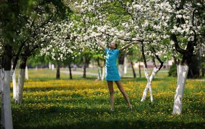 майская фотография весна, девушка, сад, цветы
