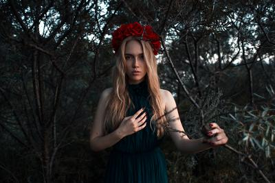*** девушка ветер закат солнце волосы цветы красные зеленые платье