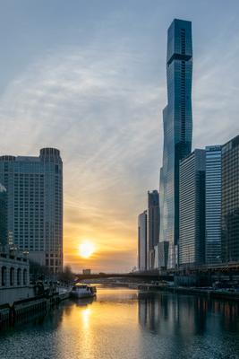 Утро в большом городе город восход река чикаго небоскребы
