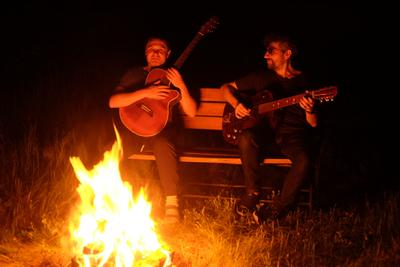 Друзья, музыка, костёр ночь гитары костёр музыка