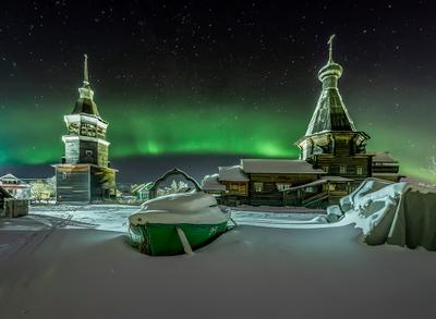 Под изумрудной радугой Архангельская область деревня русский север церковь северное сияние Конецдворье