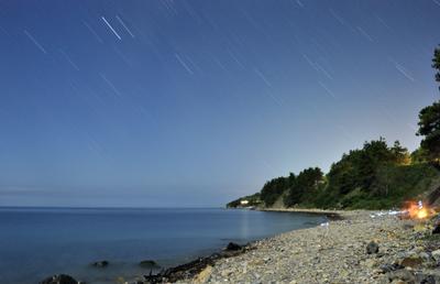 Звездный дождь лето море пляж ночь звезды