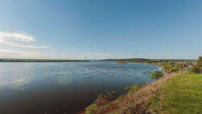 Река Кама река облака небо деревья панорама