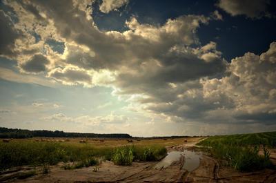 перед грозой лето поле тучи солнце гроза