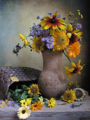 *** цветы букет подсолнухи рудбекия ноготки календула октябринки наталия тихомирова celesta