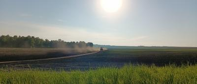 Конец трудового дня одного тракториста Поле широкое поле просторы дорога трактор в полевые работы сельское хозяйство конец рабочего дня окончены ближе к вечеру пыль на дороге пыльная солнце трава