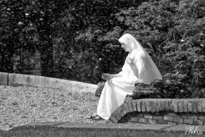 В молитвах... Ватикан, сад, фонтан, монахиня