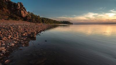 На рыбалке. река закат пейзаж небо