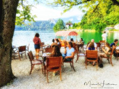 Tea party by the lake Bled. Impressionistic's view.