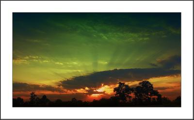 магический закат... закат, вечер, пейзаж, краски, лучи, солнце, зарево