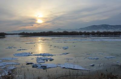 закат, река Селенга Бурятия Селенга