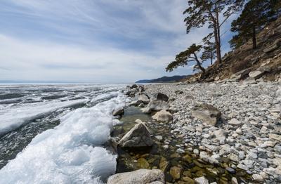Под Камнем Байкал Большое Голоустное Под Камнем Апрель лед проталины
