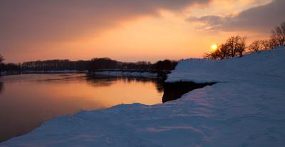 зимний вечер на реке 2 река, зима, снег, мороз...