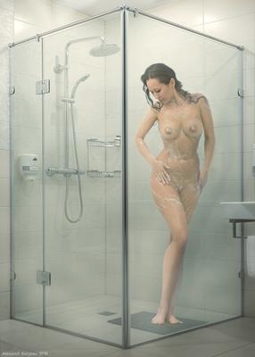 Душевая кабинка девушка обнажённая красота эротика душ