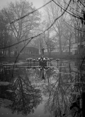***заброшенный парк фонтан озеро дерева