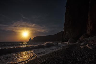 Закат на Фиоленте Прибой море пейзаж вечер закат крым фиолент