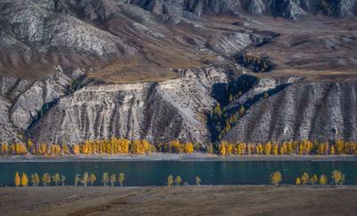 Стихия камня и воды пейзаж Алтай горы река осень
